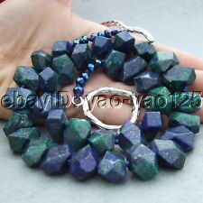 "22"" 15mm Azurite Malachite Faceted Nugget Necklace"