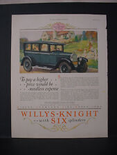 1925 Willys-Knight Six Cylinder car Full Page Color Vintage Print Ad 248
