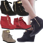 Womens Fashion Gold Metal Design Lace up high Top wedge Shoes Sneaker Booties