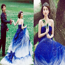 Hot Blue Wedding Dress Quinceanera Evening Prom Party Cocktail Bowknot Ball Gown