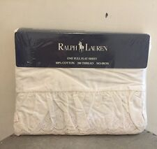 New Vintage Ralph Lauren Bromley Lace Linen Ruffled Sheet ~Shabby Cottage Chic~