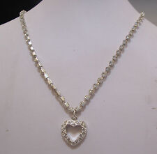"Crystal Heart Pendant on Square Rhinestone Chain 18 3/4 "" NEW with Flaws"