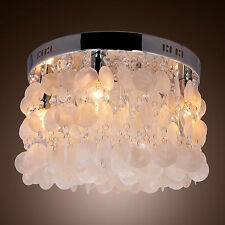 Chrome White Shell Crystal Flush Mount Chandelier Pendant Ceiling Lighting Lamp