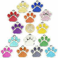 Pet ID Tag EXTRA LARGE 38mm TAGS, Reflective Glitter Dog Paw, ENGRAVED OPTIONS