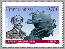 france ca 2009 suisse joint issue René Saint Marceau statue fondation UPU 1v mnh
