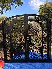 Metal Gate Custom Dual Entry Garden Estate Walk Thru Wrought Iron Art Steel