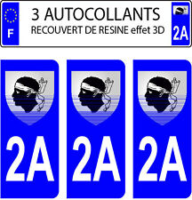 3 stickers plaque immatriculation auto DOMING 3D RESINE CORSE N° 2A