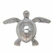 SOLID 925 SILVER HAWAIIAN SHINY SWIMMING SEA TURTLE SLIDE PENDANT CZ RHODIUM