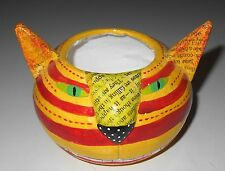 """SILVESTRI Cat Candle Holder by Nancy Wolff Handcrafted Yellow Striped 4 1/2"""""""