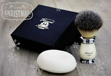 Men's Synthetic Hair Shaving Brush In Ivory & Metal Base(Newly Designed )& Soap