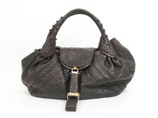 Auth FENDI Braided Handle Leather Dark Brown Zucca Spy Bag Hand Bag #5865