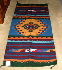 "Hand Woven Wool Throw Rug Southwestern Western 32""x 64"" Tapestry #409"