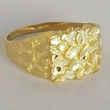 Man's solid 10k yellow Gold Nugget Ring S 11