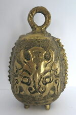 ANTIQUE VINTAGE FOOTED BRASS BELL W/ DRAGON FACE DESIGN