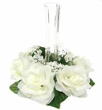 6 Candle Rings ~ Lot CREAM IVORY ~ Wedding Silk Flowers ~ Centerpiece ~ Unity