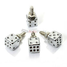 (4) Chrome Dice License Plate Frame Bolts-Screw Caps for Auto-Car-Truck-SUV