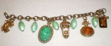Vintage Elegant Gold Double Chain Tone Green Amber Dangle Chunky Charm Bracelet
