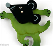 MARIE CHRISTINE PAVONE FIGURAL GREEN BLACK GALALITH MOUSE BROOCH PIN PARIS
