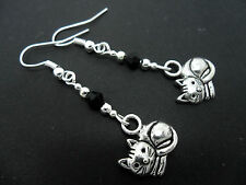 A PAIR TIBETAN SILVER DANGLY CAT/KITTEN & BLACK CRYSTAL  EARRINGS. NEW.