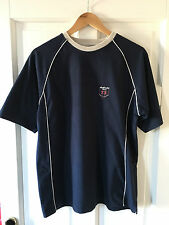 Men's Thick Blue Easy Cotton Ringer T-Shirt with Cream Trim