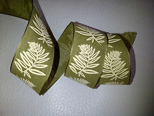 1M Green & Cream Fern Leaves Leaf Ribbon Bows Decorative Crafts, 3 for 2!