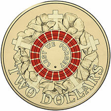 2015 Australia Anzacs Day Centenary of WWI - Red Coloured $2 Coin