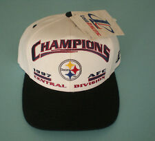 1997 STEELERS AFC CENTRAL DIVISION CHAMPIONS SNAP BACK WHITE HAT