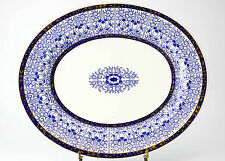 "Royal Worcester Lily Serving Platter; Gilt, Blue, White c1878, 18.6""x 16""x 1.7"""