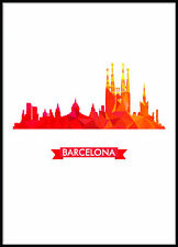 Skyline from  Poster Print Picture Wall Art Barcelona Skyline