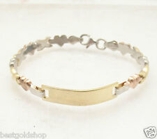 Childrens Kids Engravable Hearts & Kisses Bracelet 14K TriColor Gold Clad Silver