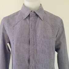 A.P.C. apc COTTON CHAMBRAY BLUE & WHITE STRIPED SHIRT western detailing SIZE 40