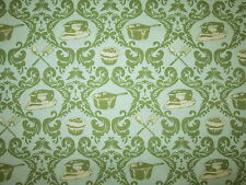 RETRO CUPCAKES PANS IRON BAKING COOKING GREEN COTTON FABRIC FQ OOP