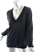 BRUNELLO CUCINELLI Black Linen/Silk Deep Sequin Trimmed V-Neck Sweater - Sz XL