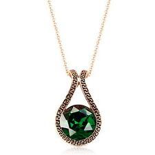 Antique Rose Gold Filled Emerald Green Swarovski Crystal Teardrop Necklace N163