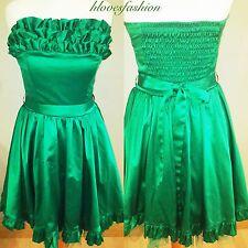 ��BAY Green Satin Boned Ruffle Skater Petticoat Prom Cocktail Dress UK 8 EU 36��