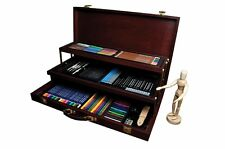 Deluxe Pencil Art Set Sketching Kit Drawing Wooden Case Box Easel Draw Artist