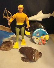 "Vintage 1970s Mego Super Heroes Custom ""Aquaman"" Action Figure! + Batman Button!"