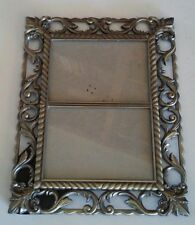 "Metal Picture Photo frame, 3"" x 4 1/2""  Pewter Look, Scrollwork holds 2 pictures"