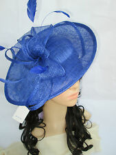 NEW SAPPHIRE BLUE SINAMAY & FEATHER FASCINATOR HAT.Shaped saucer disc,Wedding.