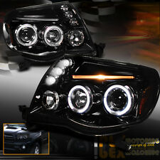 New 2005-2011 Toyota Tacoma Dual Halo Projector LED Shiny PIANO BLACK Headlights