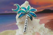 BRILLIANT STERLING SILVER BLUE FIRE OPAL PALM TREE WITH MOON PENDANT