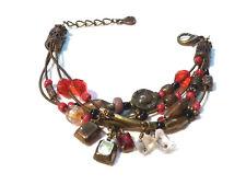 Bijou alliage bronzé bracelet breloques signé Pilgrim bangle