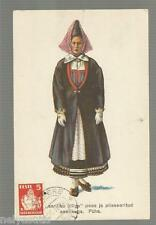 Postcard  Estonia Woman w/Horned Cap and Kilted Skirt Isle of Oesel Ethnic