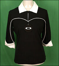 BNWT OAKLEY STRETCH GOLF HACKER POLO SHIRT BLOUSE RRP£44 LARGE UK14 BLACK