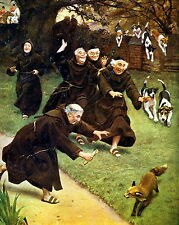 Art Print A HELPING HAND Monks Catholic Priest Save Fox from Hunting Hound Dogs