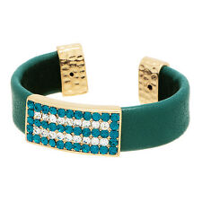 "3/4"" Wide Teal Rhinestone Hammered Gold Green Faux Leather Bangle Cuff Bracelet"