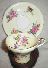 AYNSLEY Yellow Rose Floral Corset Tea CUP & SAUCER MADE IN ENGLAND