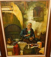 E.LARROQUE ANTIQUE DUTCH INTERIOR GENRE HOMESTEAD HUGE OIL ON CANVAS PAINTING