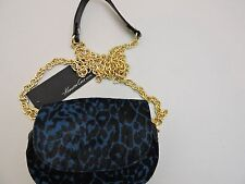 NWT-$168 Kenneth Cole New York Turquoise & Black Calf Hair and Leather Clutch