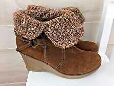 Bjorndal women's brown suede wedge booties short boots Lilly 9